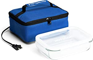 HotLogic 16801155-BL Food Warming Tote Lunch Bag 120V with Glass Dish, Blue