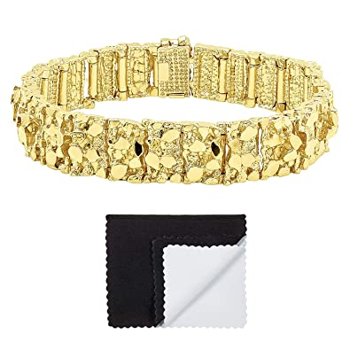 68e69e023 Amazon.com: Thick 15mm 14k Gold Plated Large Chunky Nugget Textured Link  Bracelet, 9