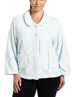 afa0e69fdb49d Casual Moments Women s Plus Size Shawl Collar Bed Jacket at Amazon ...
