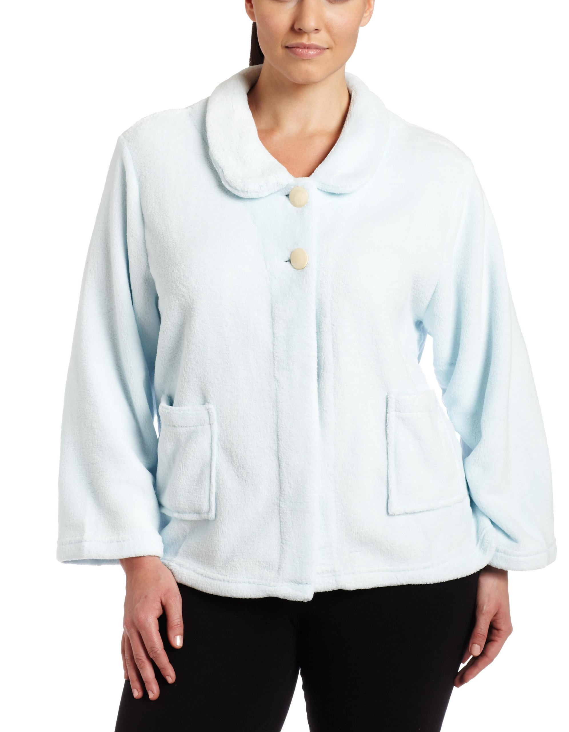 Casual Moments Womens Plus-Size Bed Jacket With Peter Pan Collar, Light Blue, 2X