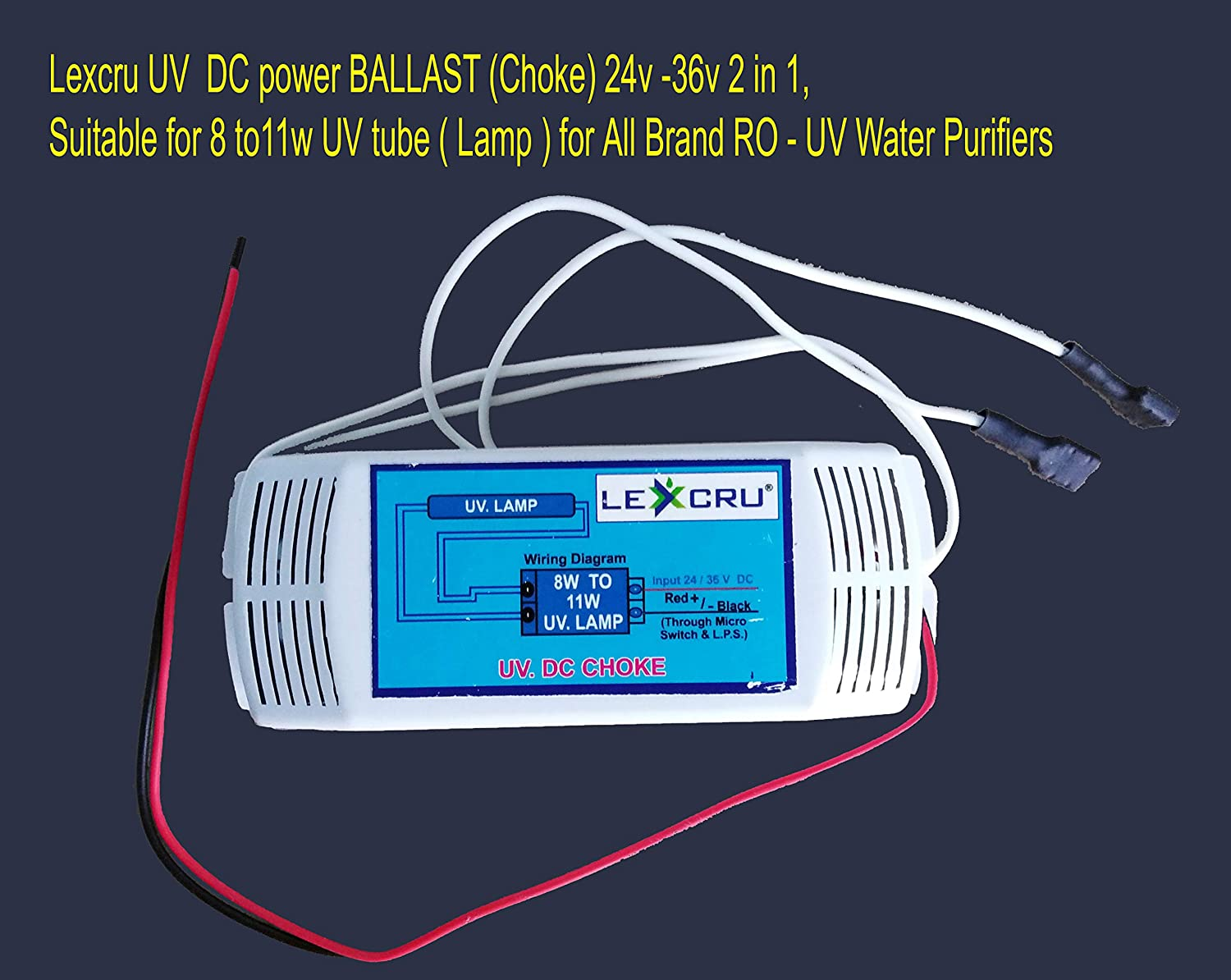 Yesh 2 In 1 Plastic Dc Power Ballast 24 36v For 11w Tube All Light Bulb Wiring Diagram Ro Uv Water Purifiers Home Kitchen
