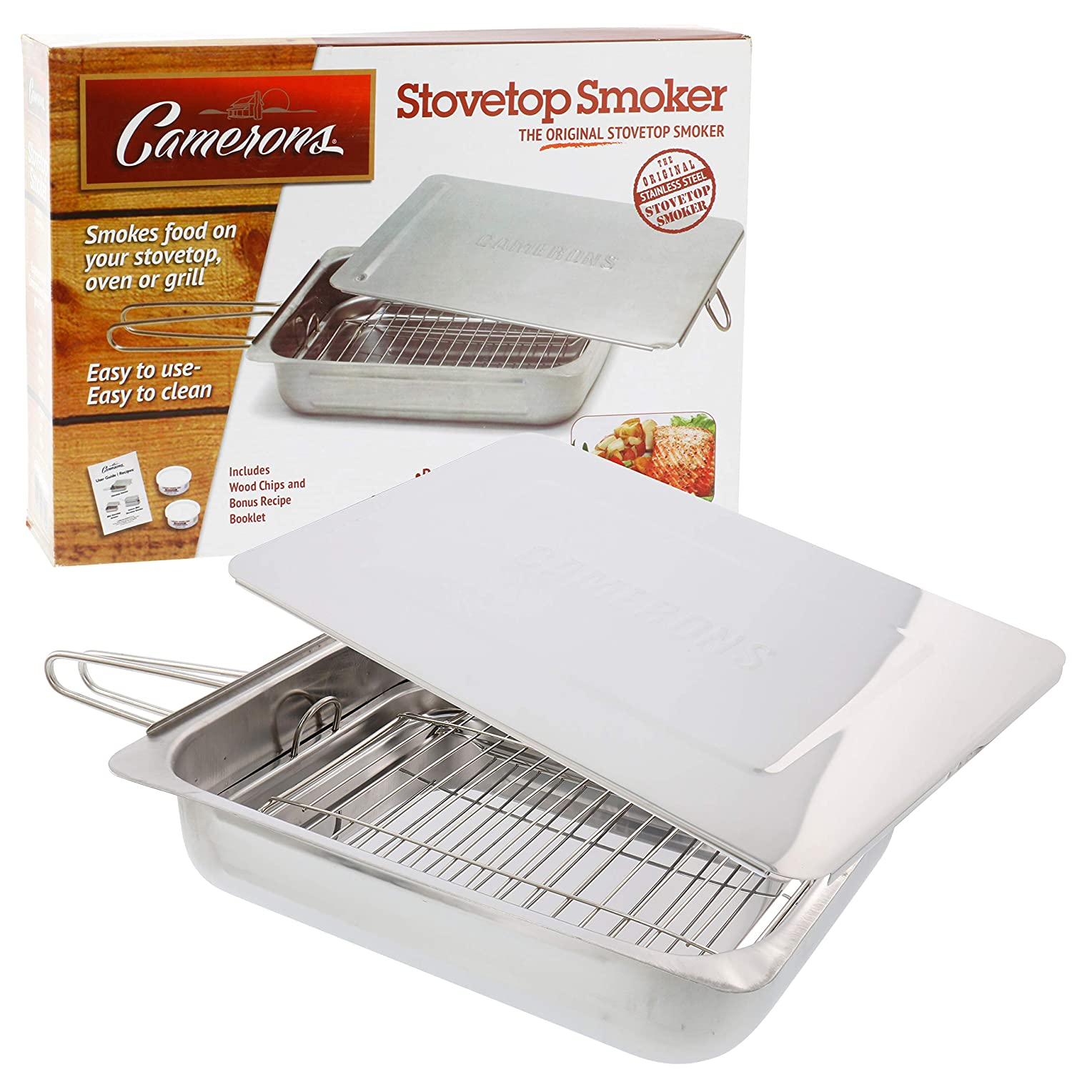 "Stovetop Smoker - The Original (11"" x 15"" x 3.5"") Stainless Steel Smoking Box with Wood Chip Samples and Recipe Guide - Works Over Any Heat Source, Indoor or Outdoor"