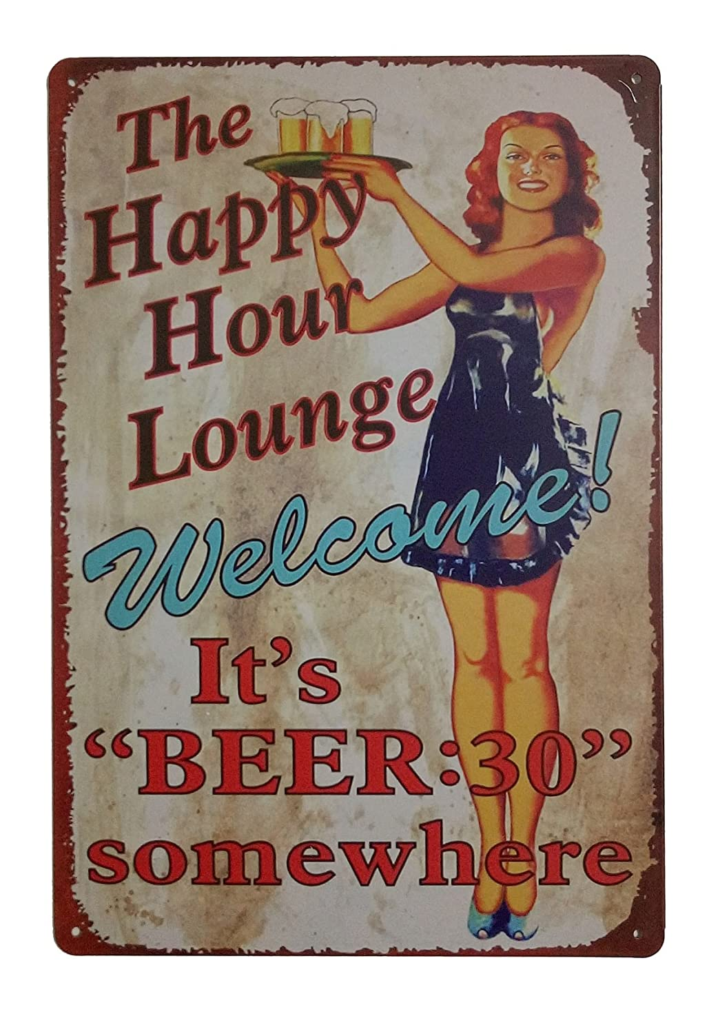 ERLOOD The Happy Hour Lounge Welcome! It's Beer Retro Vintage Decor Metal Tin Sign 12 X 8 Inches
