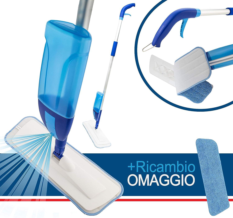 Maurys Spray Mop con Vaporizzatore Ricaricabile da 600 Ml E 2 Panni in Microfibra Lavabile per Pulire A Secco Parquet Laminati Gres Legno Vinile