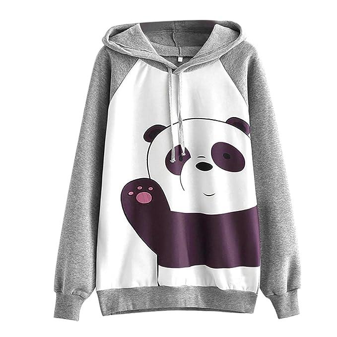 Longra Lindo Panda Impreso, Sudaderas con Capucha Mujer Tumblr Mangas largas Gris Moda Suéter Casual Tops: Amazon.es: Ropa y accesorios