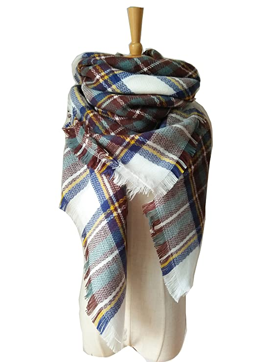 POSESHE Plaid Blanket Thick Winter Scarf Tartan Chunky Wrap Oversized Shawl Cape,L White Blue,One Size