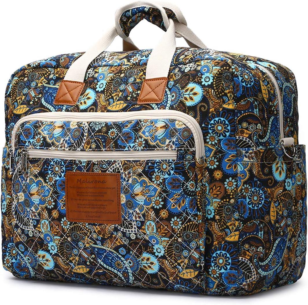 Malirona Women s Canvas Overnight Weekender Bag Carry On Travel Duffel Tote Bag Bohemian Flower Black Flower