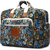 Malirona Women's Canvas Overnight Weekender Bag Carry On Travel Duffel Tote Bag Bohemian Flower (Black Flower)