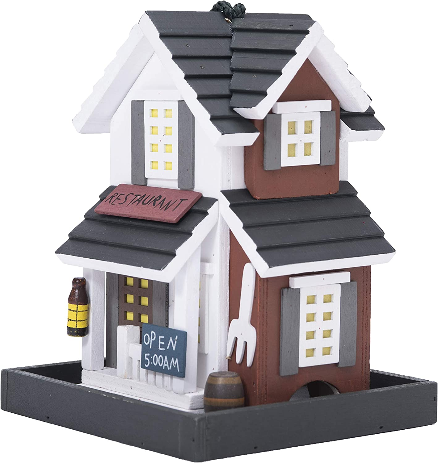 Country Cottages Colorful Hand-Painted Outdoor Decorative Wooden Bird House&Bird Feeder (C)