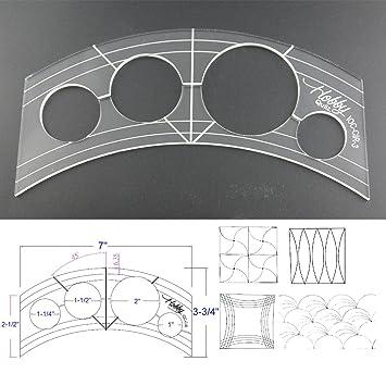 3 mm de acrílico de punto de sueño Patchwork Quilting plantilla regla curvas y 4 Mini