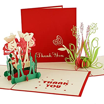 Set de 3 gracias tarjetas de felicitación tarjetas pop-up 3d ...