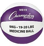 Champion Sports MB19 Leather Medicine Ball, Purple/White, 19-20 lb