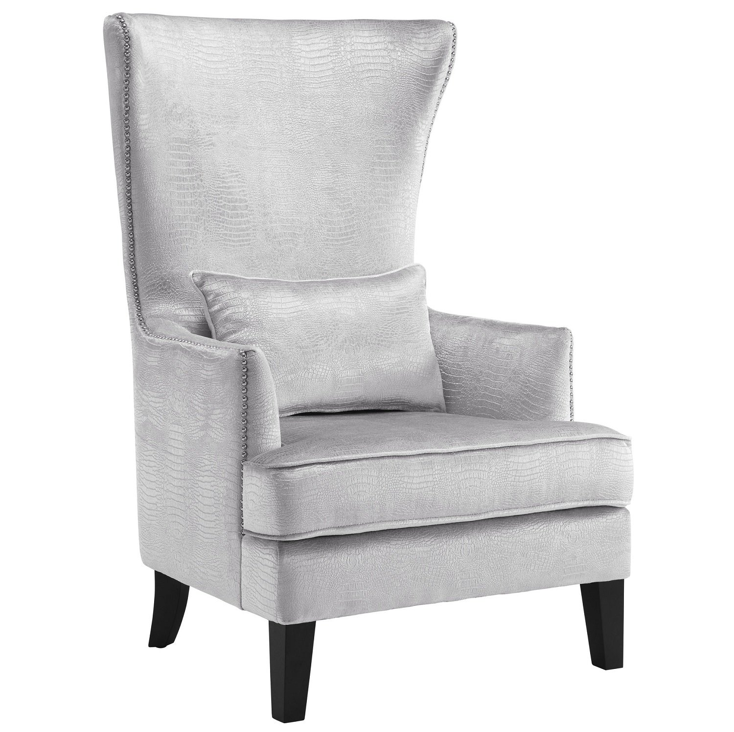 Enjoyable Tov Furniture The Bristol Collection Contemporary Velvet Upholstered Tall Living Room Parlor Chair With Nailhead Trim Silver Croc Beatyapartments Chair Design Images Beatyapartmentscom