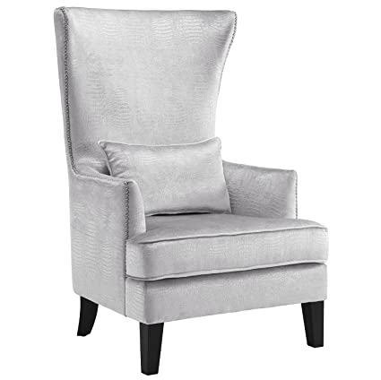 ffaada780f2aa Amazon.com  Tov Furniture The Bristol Collection Contemporary Velvet  Upholstered Tall Living Room Parlor Chair with Nailhead Trim