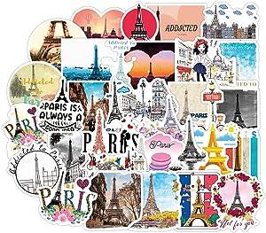 Trendy Paris Stickers for Water Bottle 50pcs Pack, Waterproof Stickers for Teen Girl Laptop, Skateboard, Bike, Guitar, Laggage, Phone, Travel Case (Paris)