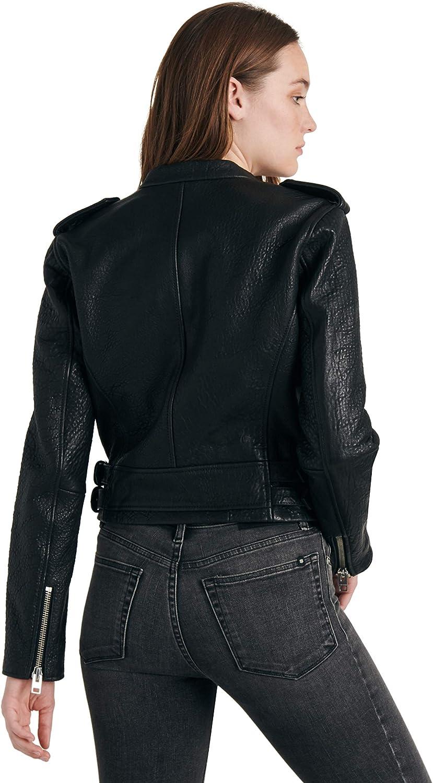 Lucky Brand Womens Pebble Leather Moto Jacket