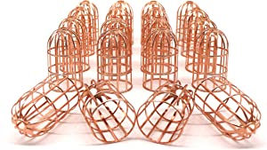 CVHOMEDECO. Rose Gold Metal Birdcage Design Decorations Hanging Decorative Birdcages Accessories for Home Bedroom Wedding Party Birthday Valentine's Day and Holiday Seasonal Décor, Set of 20.