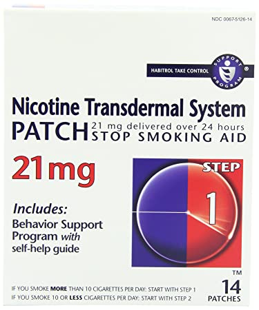 Nicotine Transdermal System Patch, Stop Smoking Aid, 21 mg, Step 1, 14
