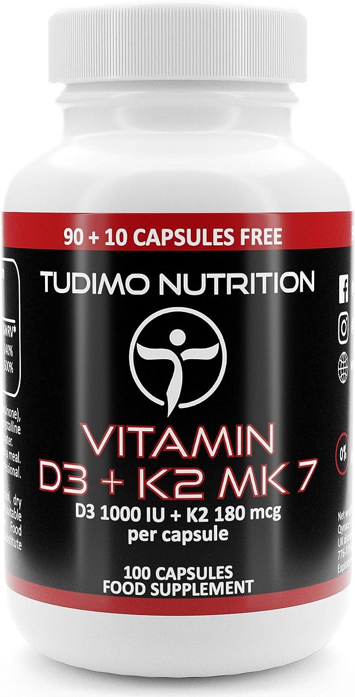 Vitamina d3 e k2 mk7 1000 iu / 180 mcg - 100 pz (scorta 3+ mesi) di capsule a disgregazione rapida