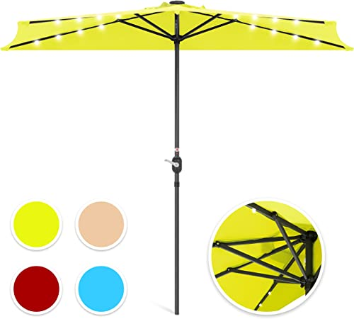 Best Choice Products 8.5ft Steel Solar LED Patio Half Umbrella w/Easy Crank and Wind Vent