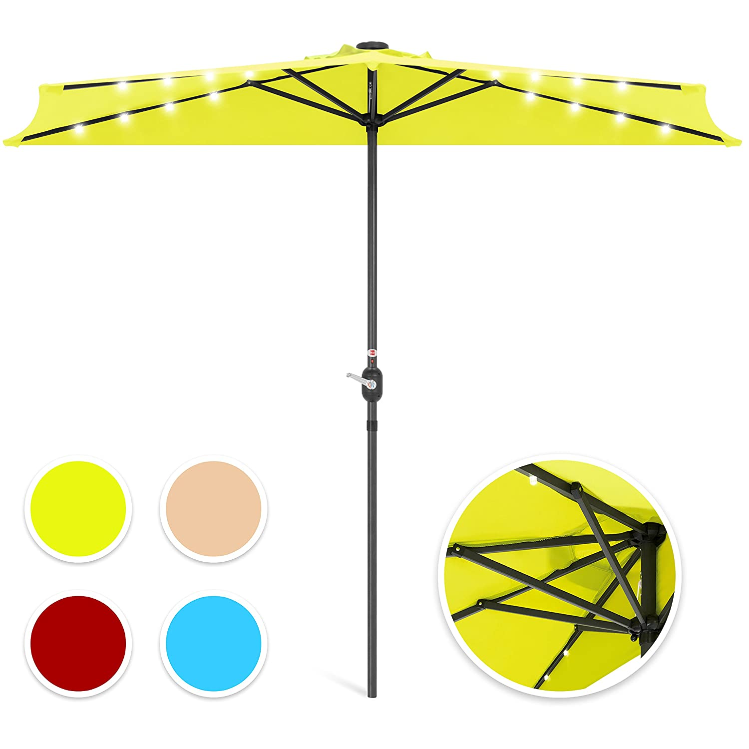 Best Choice Products 8.5ft Solar LED Half Umbrella for Backyard, Patio, Porch w Crank – Light Green