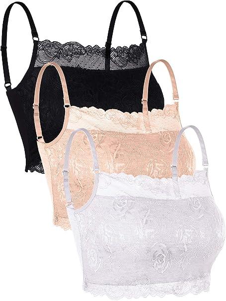 3e58c074813c Skylety 3 Pieces Lace Cami Half Lace Camisole Neck Lace Bralette Top for  Women Girls (