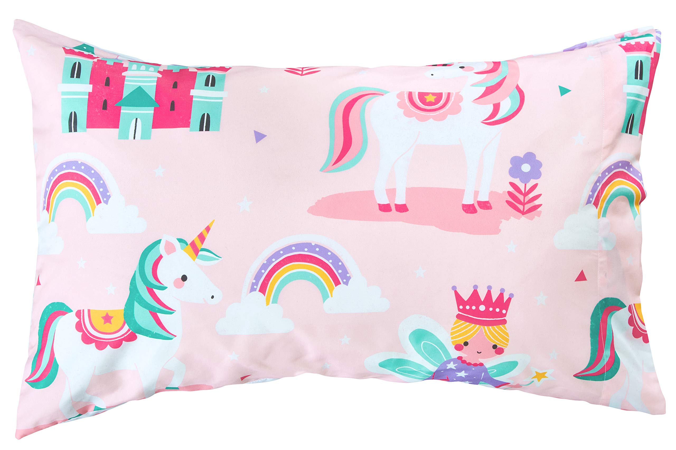 Bloomsbury Mill - 4 Piece Toddler Comforter Set - Magic Unicorn, Fairy Princess & Enchanted Castle - Pink - Kids Bedding Set 6