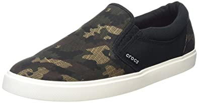 crocs Mens CitiLane Graphic Slipon Sneak Flat, Camo/Black, ...