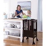 Guidecraft Contemporary Kitchen Helper - Espresso: Adjustable Height Step Stool Tower For Children