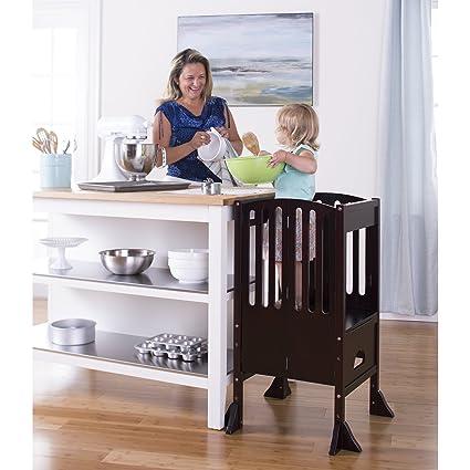 Guidecraft Contemporary Kitchen Helper   Espresso: Adjustable Height Step  Stool Tower For Children