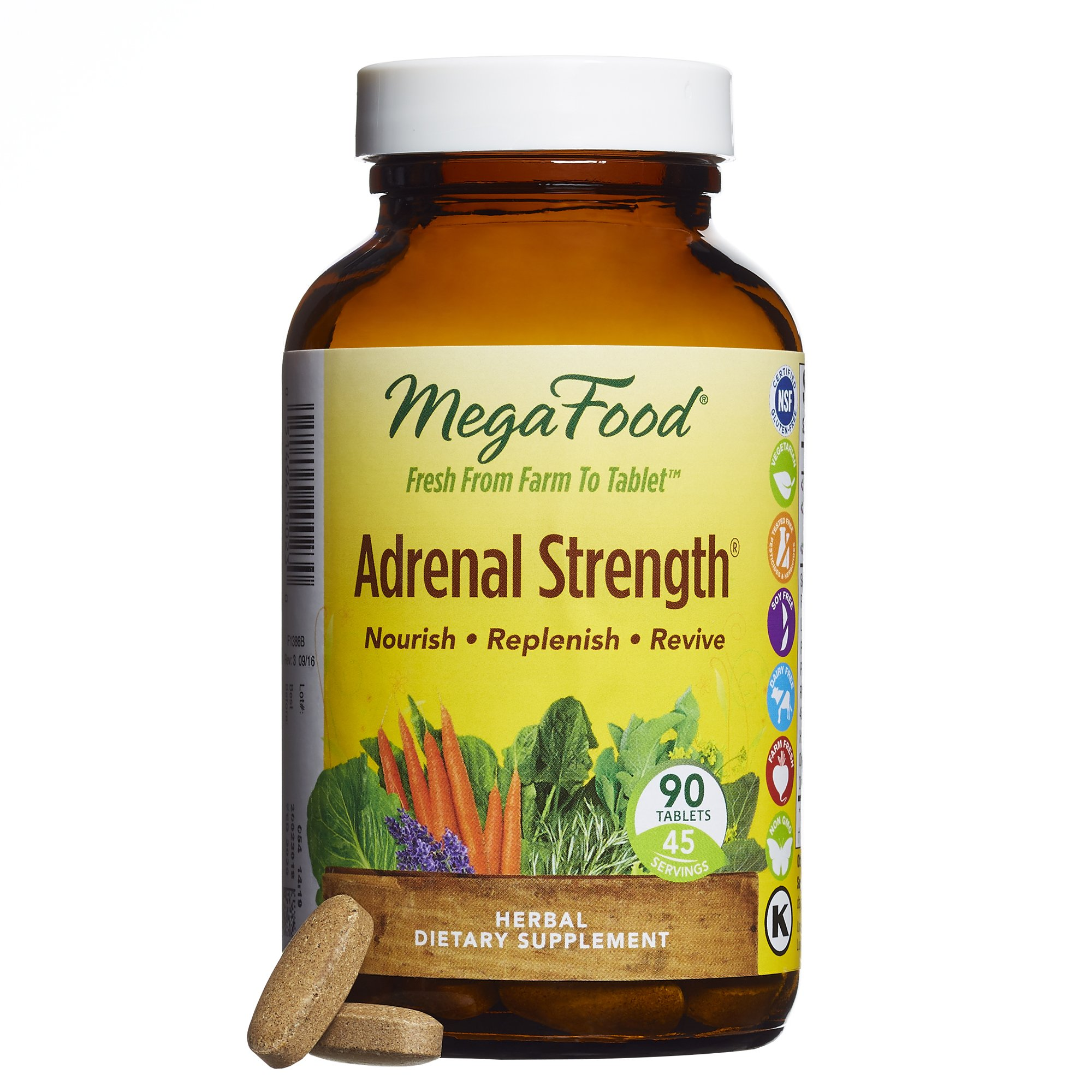 MegaFood - Adrenal Strength, Promotes Healthy Endocrine Function to Support the Adrenals, 90 Tablets (FFP) by MegaFood
