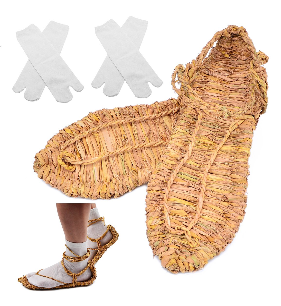 Straw Sandals with 2 Pairs Tabi Socks for Bleach Cosplay XL