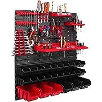 26 Stapelboxen, gereedschapshouder, wandrek, werkplaatsrek, gereedschapswand, 78 x 78 cm, gereedschapshouder…