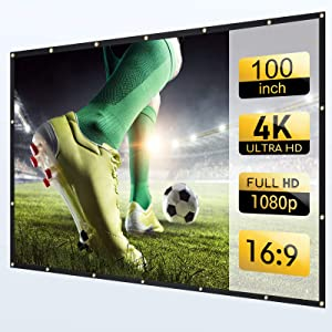 White Projector Screen 100 inch 16:9 for Backyard Outdoor HD Movie Projection or Indoor 4K Home Theater
