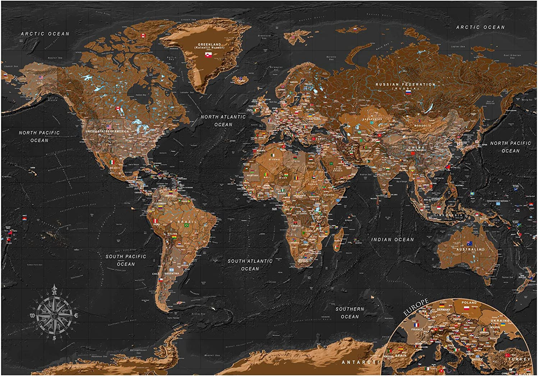 murando Fotomurales Mapamundi 400x280 cm XXL Papel pintado tejido no tejido Decoración de Pared decorativos Murales moderna de Diseno Fotográfico Mapa del mundo k-A-0206-a-a: Amazon.es: Bricolaje y herramientas
