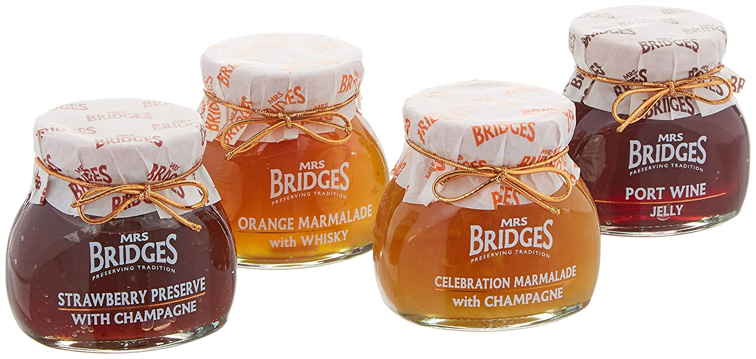 Amazon.com : Mrs Bridges Celebration Collection Gift Box, 4 Ounce Jars (Strawberry Preserve, Port Wine Jelly, Celebration Marmalade, Orange Marmalade with ...