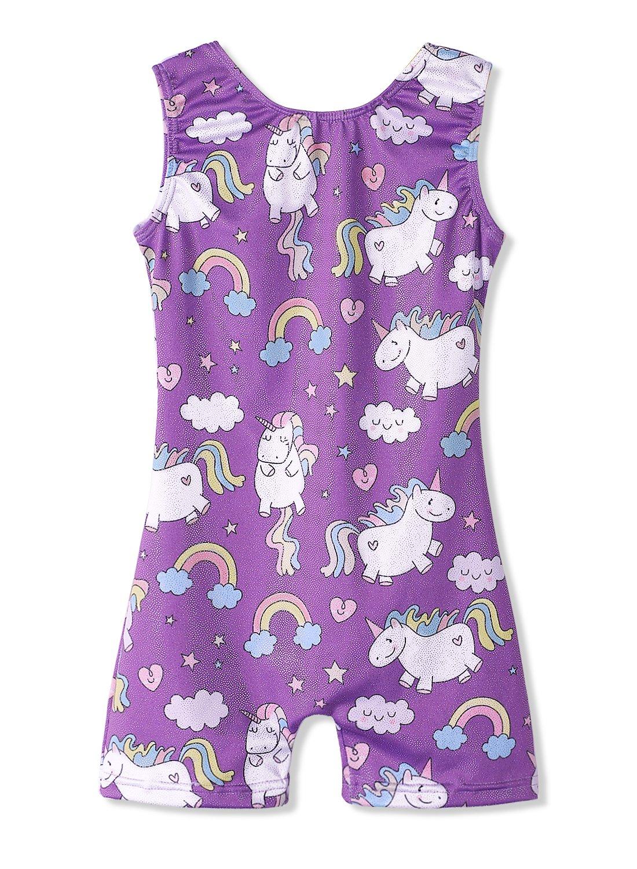 Purple Leotards for Girls Gymnastics 3t 4t Dance Unicorn Biketards Casual Wear by HOZIY