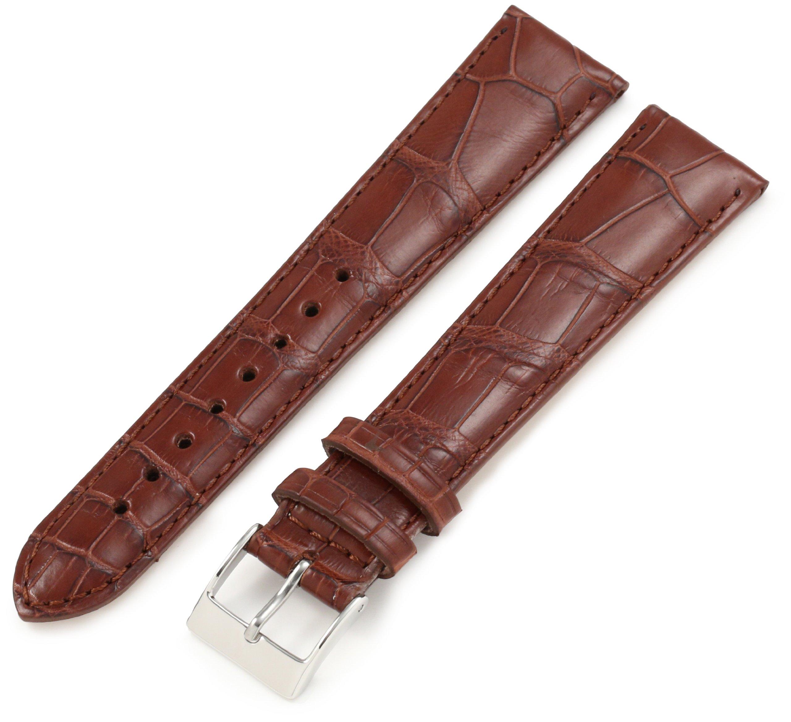 Artisan of Italy AITPD600-1420ML Men's Dress Padded Matte Alligator 20mm Cognac Long Watch Strap