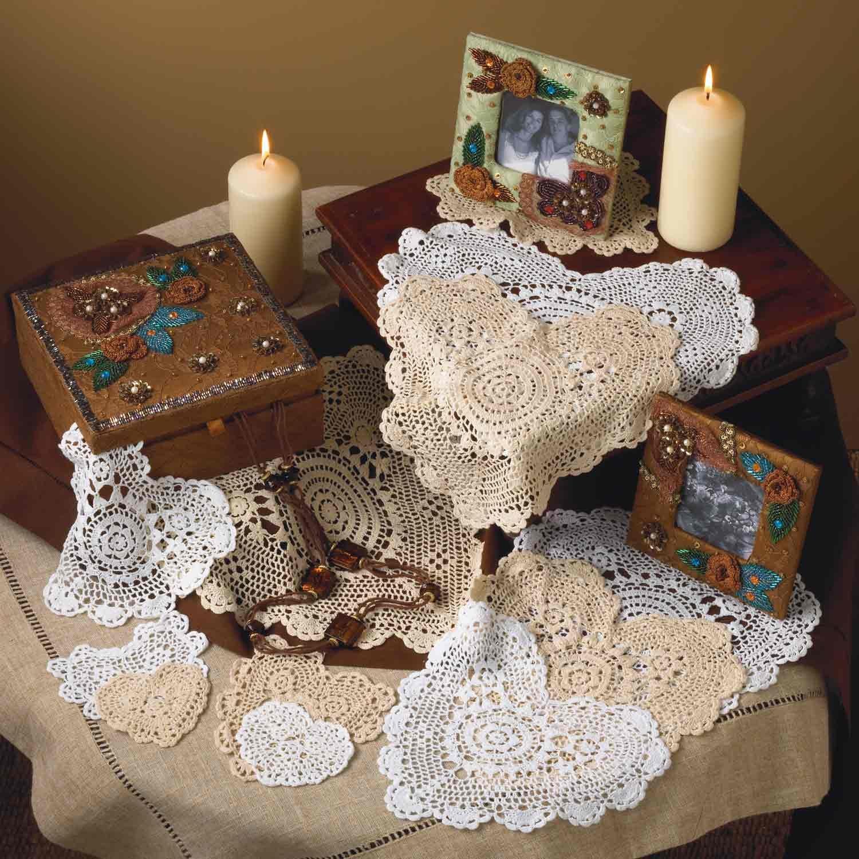 Handmade, Crochet Lace Doily. 100% Cotton Crochet. Ecru, 12 Inch Heart. Four Pieces by TCC