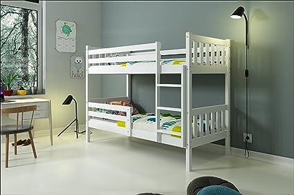 Letto a castello CARINO 200x90 (Bianco), lettino per bambini e ...