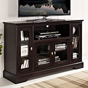 """WE Furniture Espresso 52"""" Wood Modern Highboy Style Tall TV Stand for Flat Screen TV's Up to 65"""" Entertainment Center"""