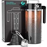 Cold Brew Coffee Maker - Coffee Gator Brewing Kit with Stainless Steel Measuring Scoop and Collapsible Loading Funnel - BPA-Free Filter and Glass Carafe - Black - 47oz