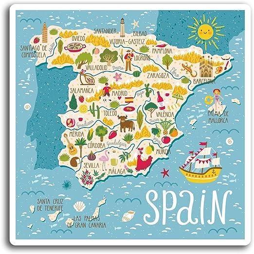 2 x 10 cm España Español Mapa de viaje - pegatinas de vinilo ...