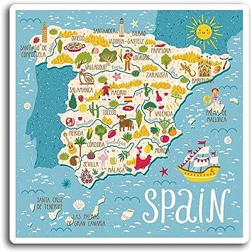 2 x 10 cm España Español Mapa de viaje - pegatinas de vinilo etiqueta de equipaje portátil # 19419 (10 cm de ancho): Amazon.es: Hogar