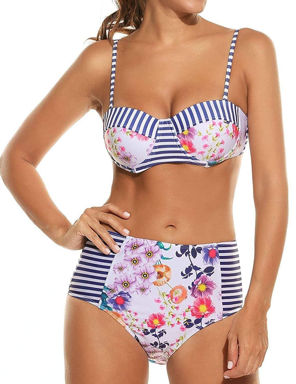 7129f1437c Amazon.com  Kebinai Women s Sexy Floral Print High Waist Bandage 2PCS Bikini  Set Bathing Suit  Clothing