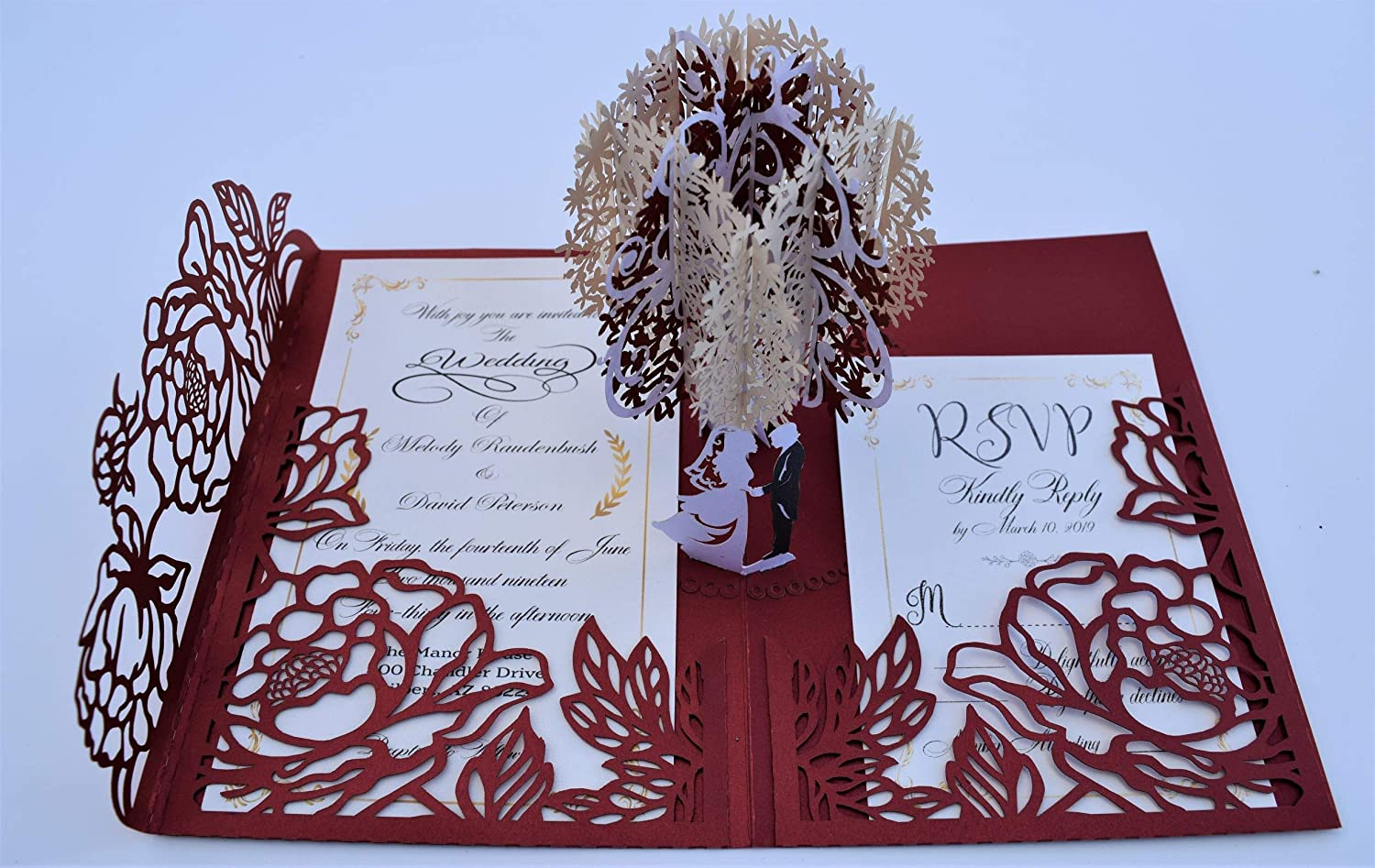 Red Pop up Wedding Invitation Pocket-folds With Envelope Unique Elegant Laser Cut 3D Design Personalized Invitation and RSVP Card Option Available by Tada Cards
