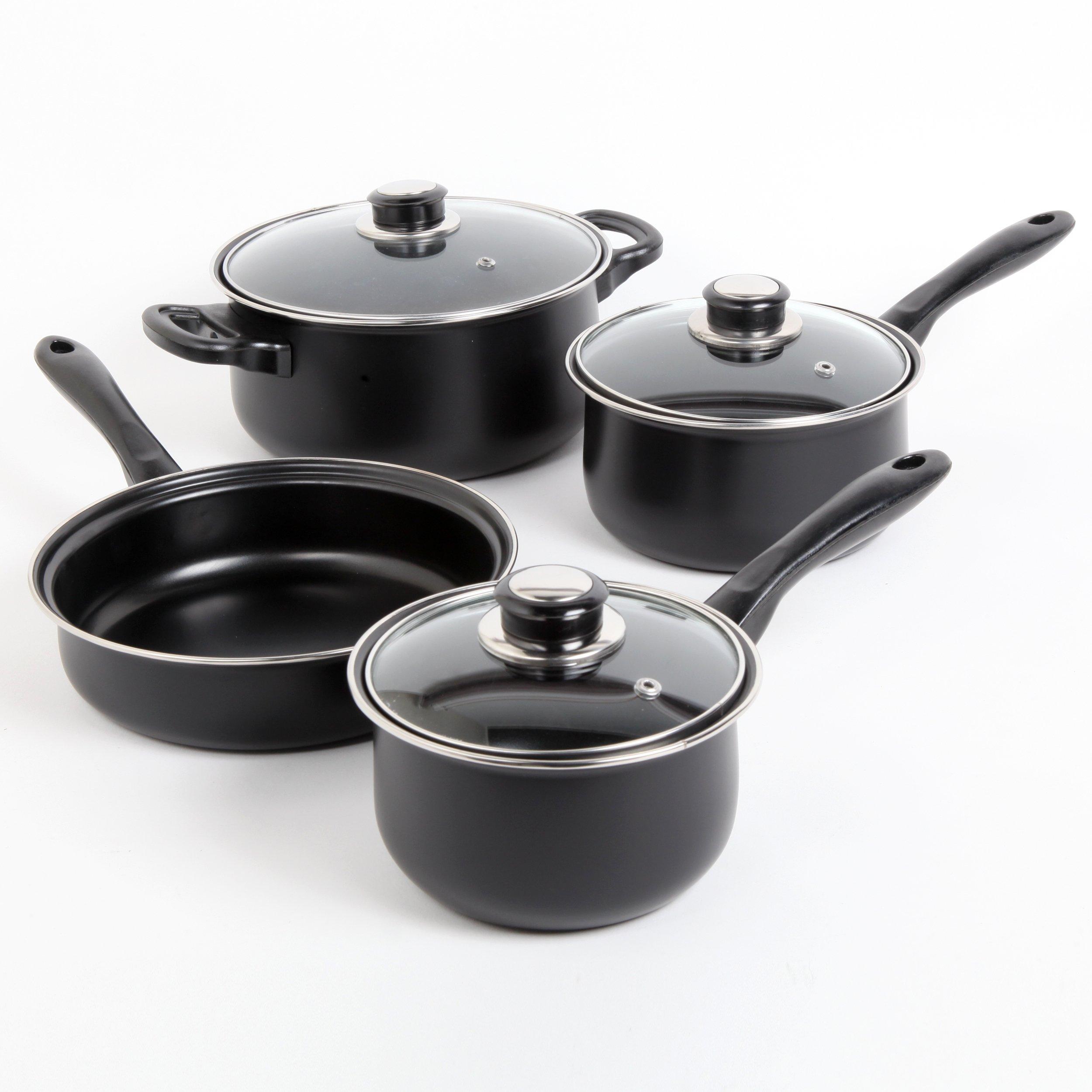 Sunbeam 72253.07 Newbrook 7-Piece Cookware Set, Black