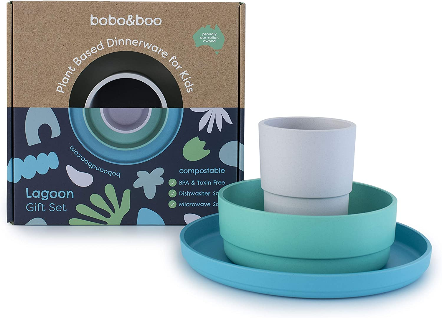 BOBO&BOO Plant-Based Dinnerware Set for Children, 3 Pieces - Eco-Friendly Kids Dishes, Microwave and Dishwasher Safe - Biodegradable Cups, Plates, and Bowls - Plant-Based Dishware - LAGOON
