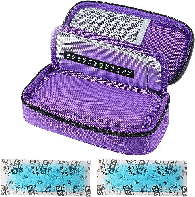 Bolsa isotérmica para insulina para diabéticos, bolsa de medicamentos, bolsa isotérmica para accesorios de diabético con acumuladores de frío, color ...