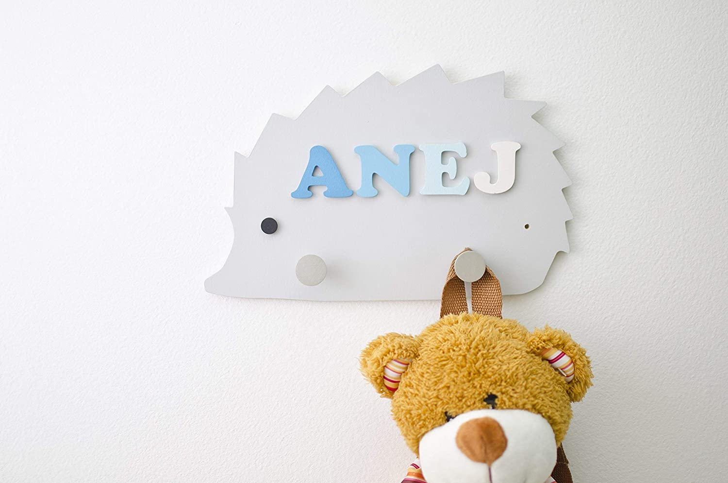 Personalized Hedgehog shaped Kids Peg Rack with 2 hooks